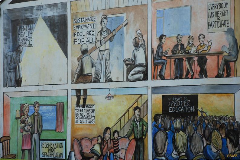 Mural en formato de cómic. Belfast