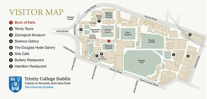 Mapa del Trinity College. Dublin