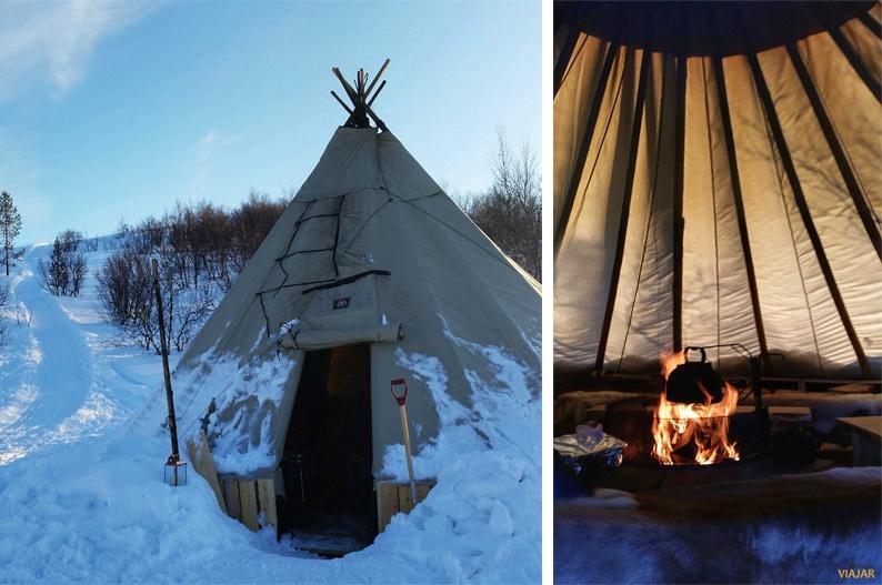 Tras el trekking con raquetas de nieve, un reconfortante bidos. Laponia noruega
