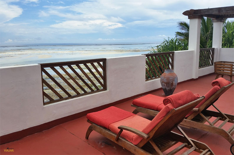 Terraza de una de las villas del hotel Essque Zalu Zanzibar