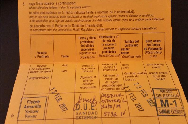 Certificado Internacional de Vacunacion. Viajar a Zanzíbar