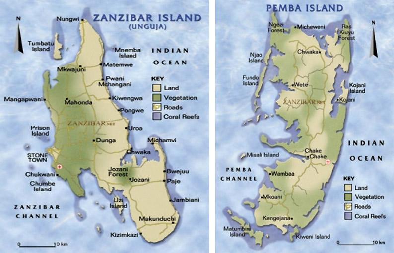 Mapa. Viajar a Zanzíbar