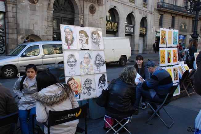 Caricaturistas en La Rambla. Barcelona