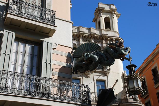 Detalle Casa Bruno Cuadros. La Rambla, Barcelona