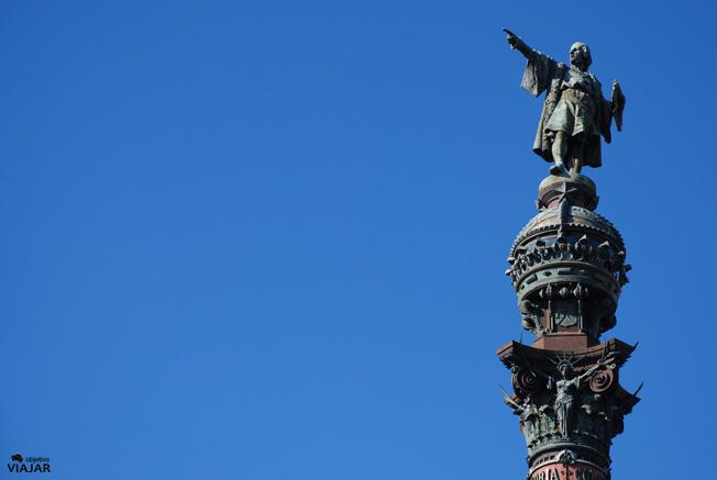 Detalle del Monumento a Colón. Barcelona
