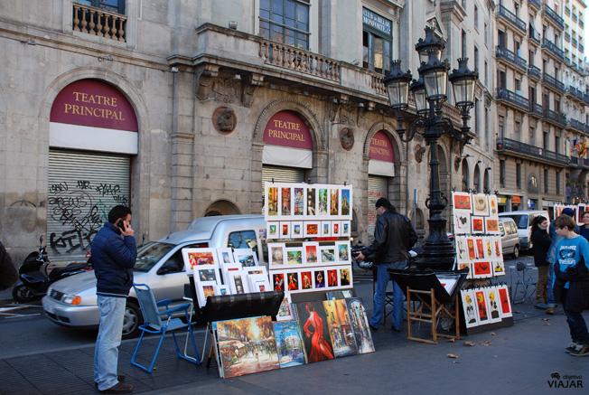 Pintores frente al Teatro Principal de La Rambla. Barcelona