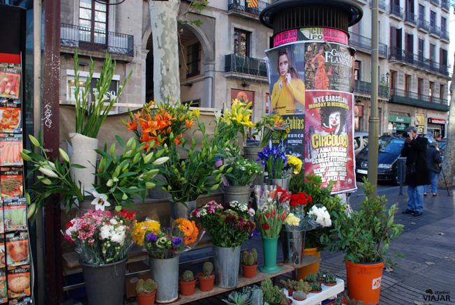 Puesto de flores en La Rambla. Barcelona
