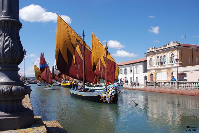 Las embarcaciones de la sección flotante del Museo della Marineria. Cesenatico