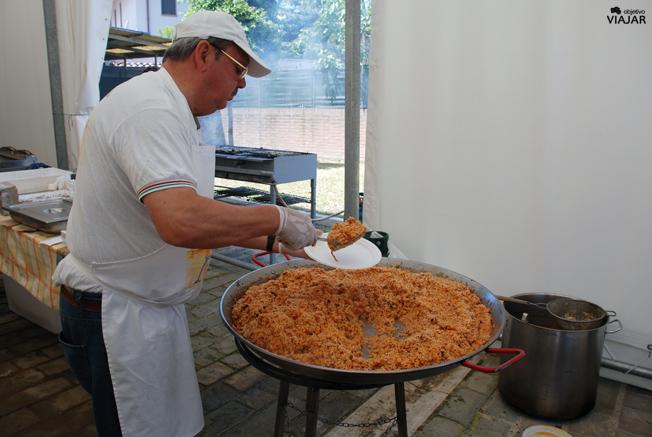 Preparando un delicioso risotto en las instalaciones del Museo della Marineria. Cesenatico