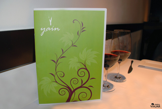 Carta del restaurante Yain. Teruel