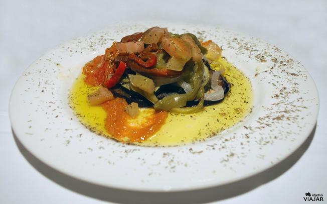 Ratatouille de verduras al horno. Restaurante Yain. Teruel