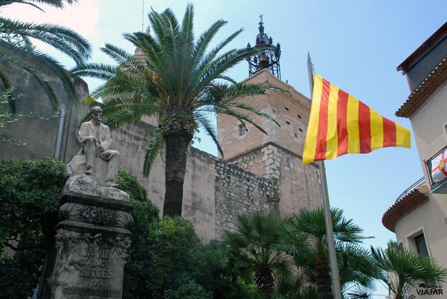 Monumento al Doctor Robert, figura destacada de la Cataluña de finales del siglo XIX. Plaça de l'Ajuntament. Sitges