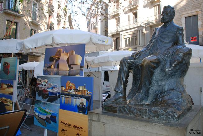 Estatua de Àngel Guimerà. Plaça de Sant Josep Oriol. Barcelona