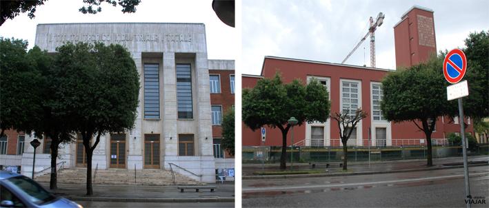 Izq. Istituto Tecnico Industriale A. Mussolini. Dcha. Casa del Balilla. Forlì