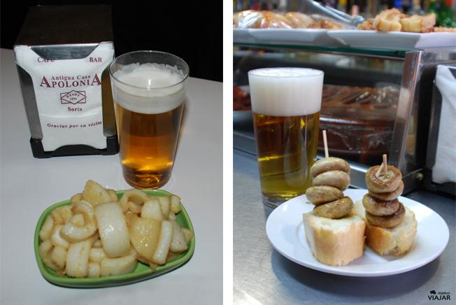 Calamares de Antigua Casa Apolonia y champiñones del bar Poli. Soria