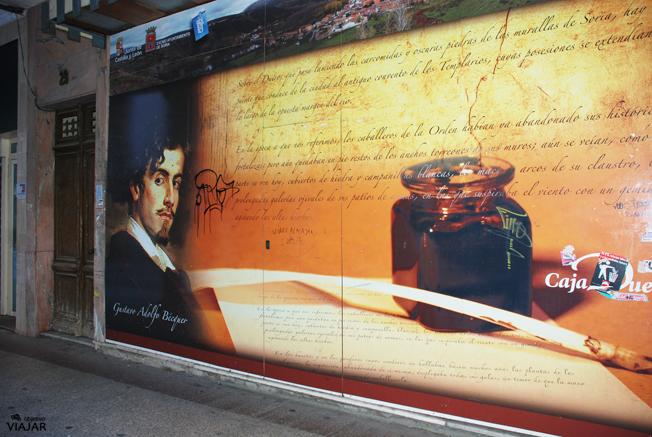 Cartel de Bécquer en la calle El Collado. Soria