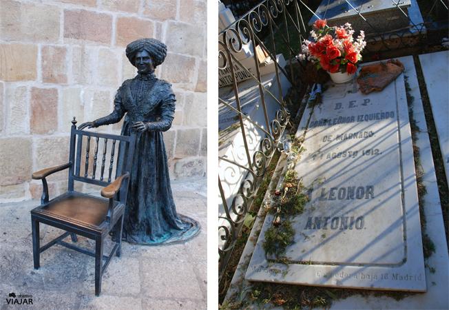 Estatua y tumba de Leonor Izquierdo. Soria
