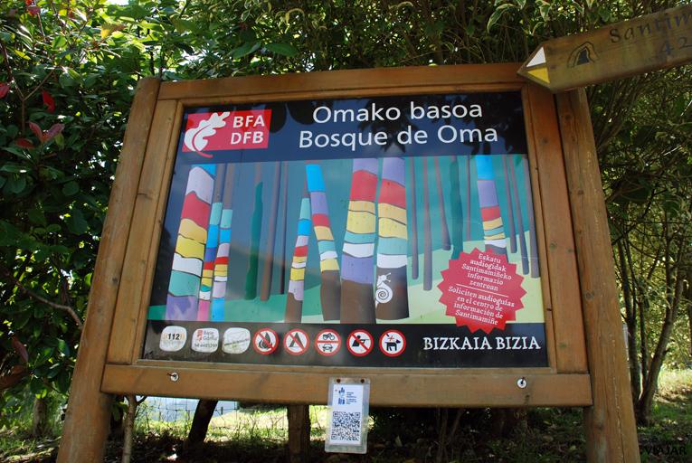Entrada al recorrido que da acceso al Bosque de Oma