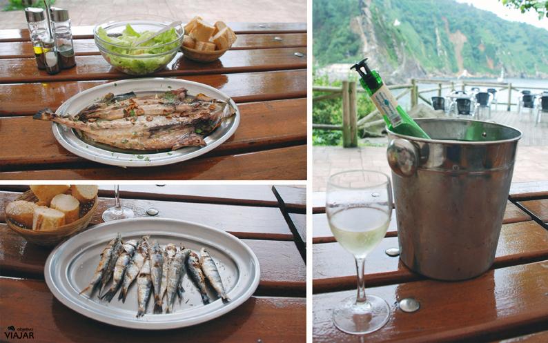 Chicharro, sardinas y txacolí de Getaria en la Kantina Alabortza. Pasai Donibane. Pasaia