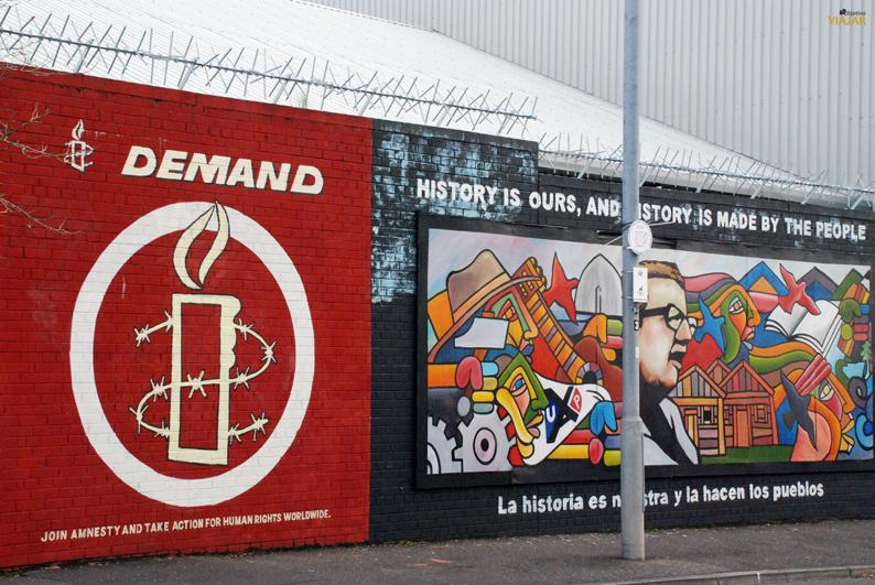 Mural dedicado a Amnistía Internacional. Falls Road. Belfast