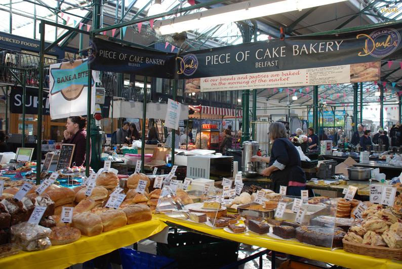 Pasteles y panes recién hechos. St. George's Market. Belfast