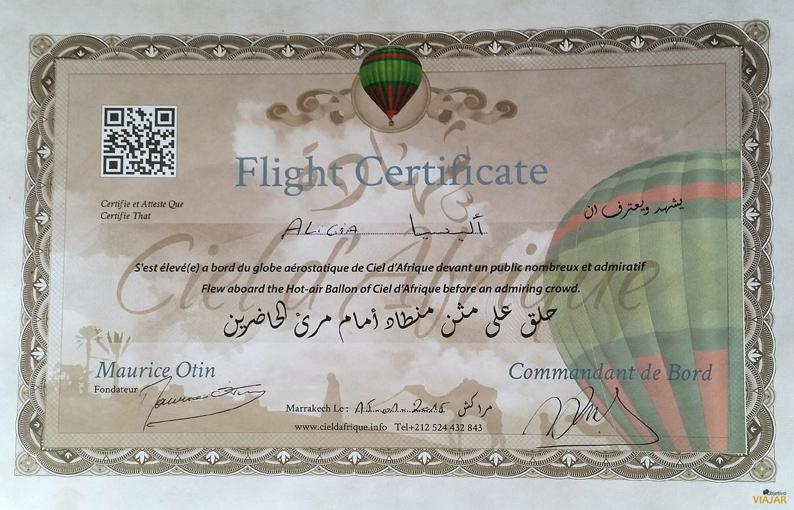 Certificado de vuelo con la empresa Ciel d'Afrique. Marrakech. Marruecos