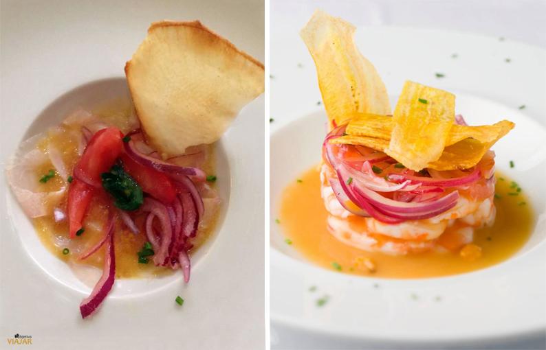 Ceviche de corvina y ceviche de camarones. Restaurante Paralelo Cero