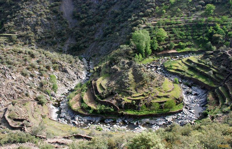 El meandro Lanchero desde el Mirador de El Gasco. Las Hurdes
