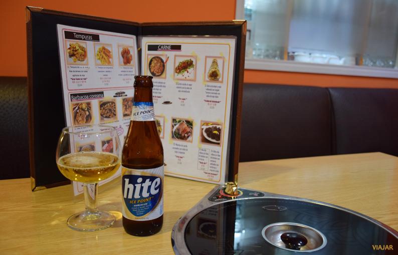 Cerveza coreana Hite. Restaurante Maru