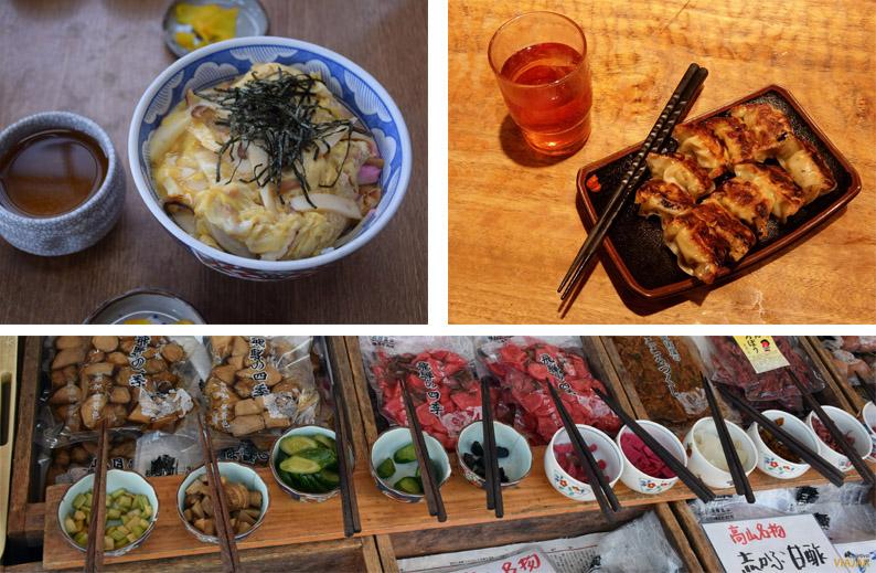 Bol de arroz con tofu y huevo, gyōzas y encurtidos japoneses