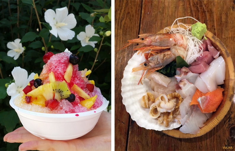 Kakigori y pescado crudo. Japón