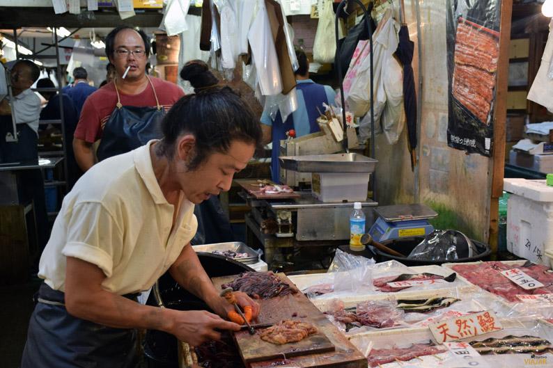 Con la precisión de un cirujano. Mercado Tsukiji