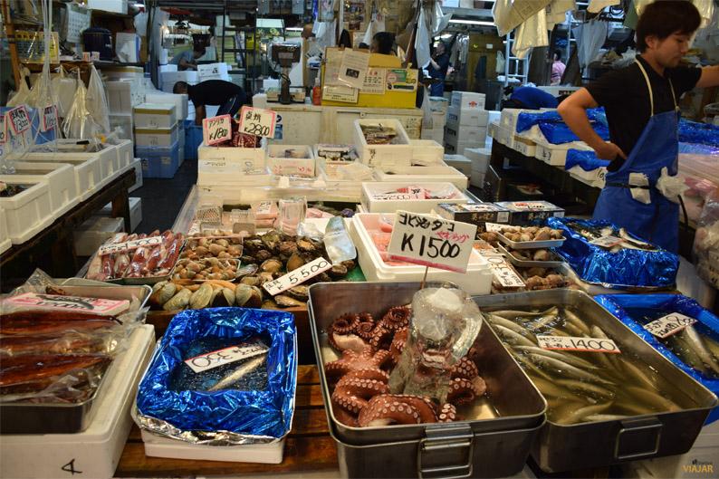 Diferentes especies de pescados en el mercado Tsukiji