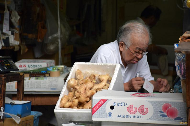 Vendedor del mercado exterior de Tsukiji