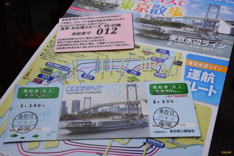 Billete y plano de la Tokio Mizube Line
