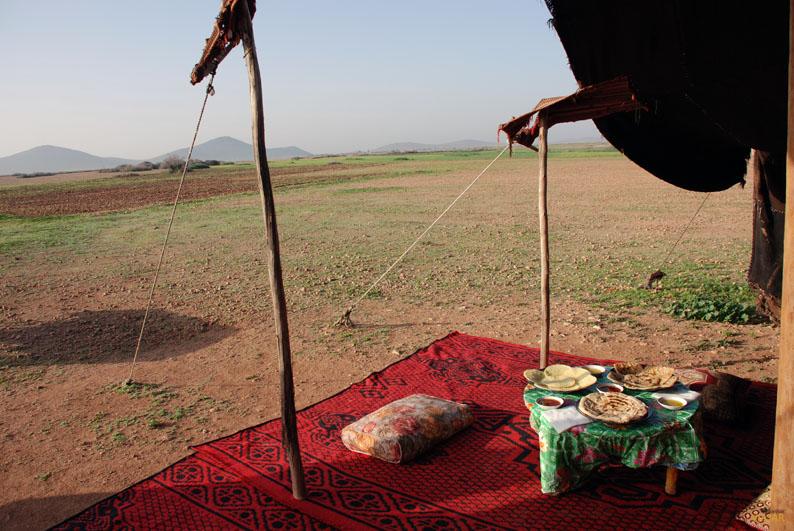 Desayunando tras sobrevolar Marrakech