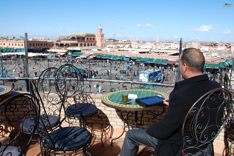 Terraza del Café Glacier. Que hacer en Marrakech