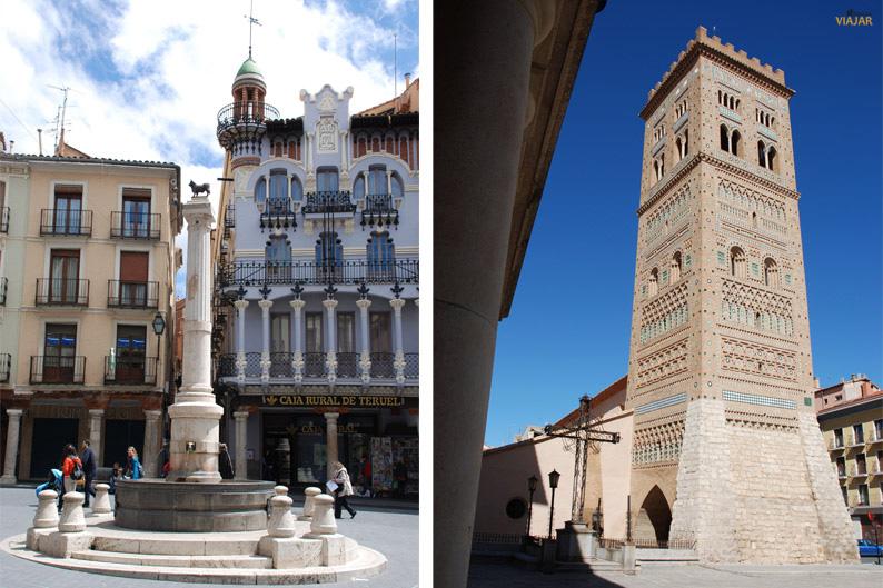 Plaza del Torico y Torre de San Martin. Teruel