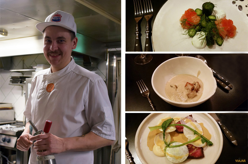 El chef Erik Mansikka y sus creaciones en el restaurante Kaskis. Turku