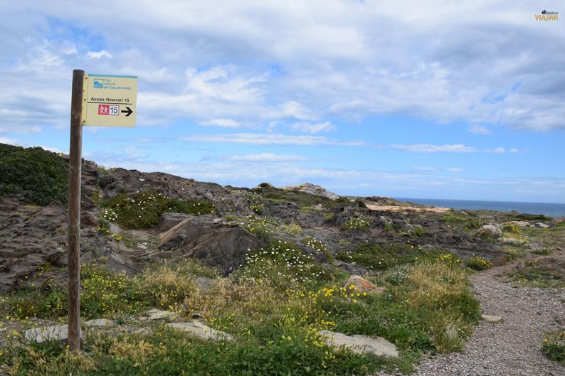 Acceso al itinerario 15. Parque Natural del Cap de Creus