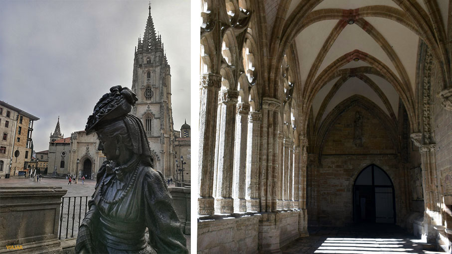 Estatua de La Regenta y Catedral de San Salvador. Oviedo
