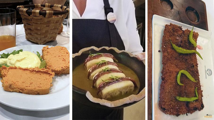 Pastel de cabracho, anchoas del Cantabrico y cachopo