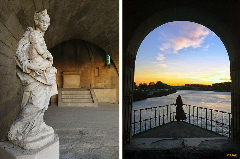 Puente Saint-Benezet al atardecer. Avignon. Francia