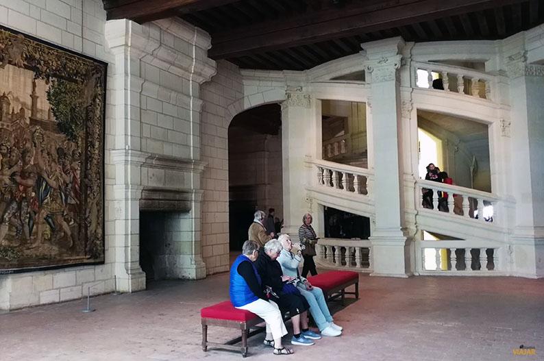 La famosa escalera helicoidal del castillo de Chambord. El Valle del Loira y Leonardo da Vinci