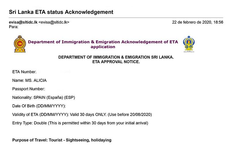 Visado aprobado. Viajar a Sri Lanka