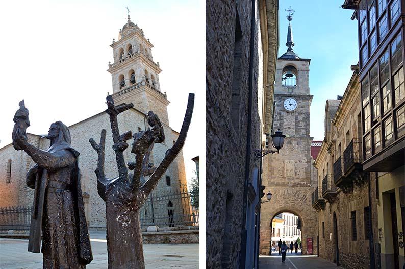 Basilica de la Virgen de la Encina y calle del Reloj. Ponferrada