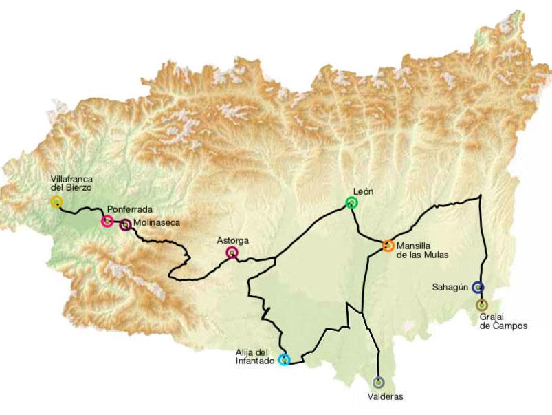 Mapa villas historicas de Leon